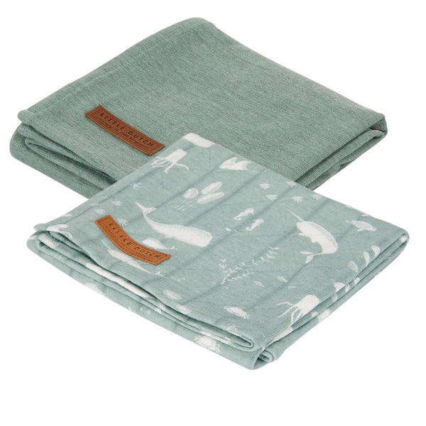 2-pack swaddles pure mint | ocean mint Little Dutch Muslin Little Dutch