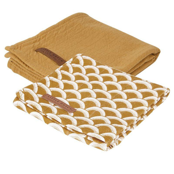 2-pack swaddles sunrise ochre | pure ochre Little Dutch Muslin Little Dutch