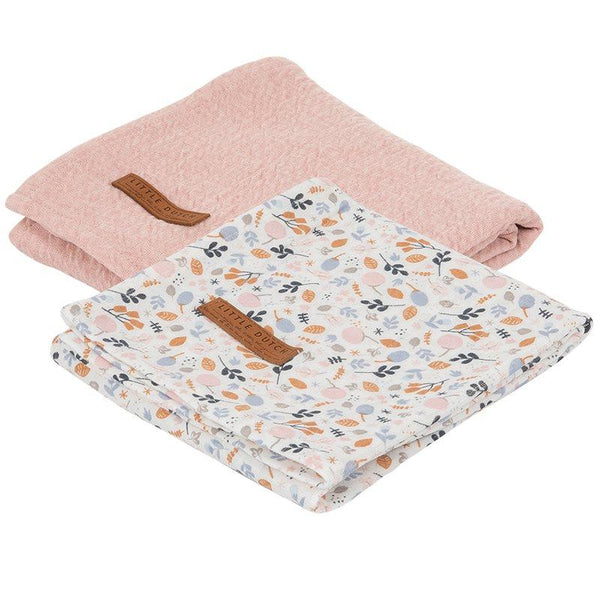 2-pack swaddles pure pink | spring flowers Little Dutch