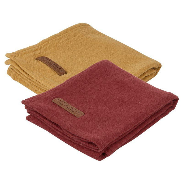 2-pack swaddles pure indian red | pure ochre Little Dutch Muslin Little Dutch