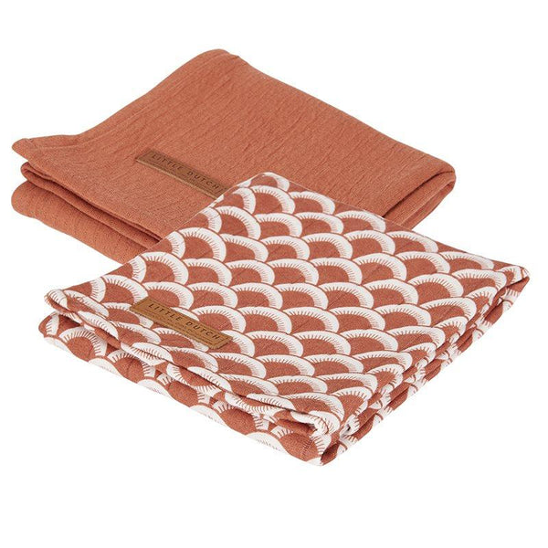2-pack swaddles sunrise rust | pure rust Little Dutch
