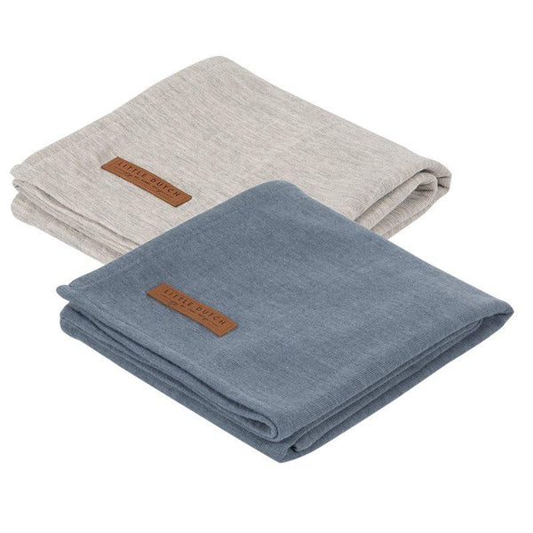 2-pack swaddles grey | blue Little Dutch