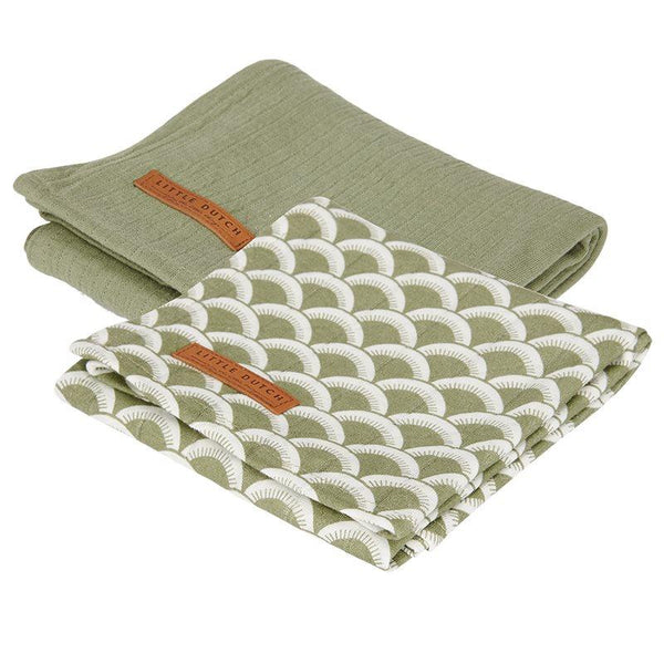 2-pack swaddles sunrise olive | pure olive Little Dutch Muslin Little Dutch