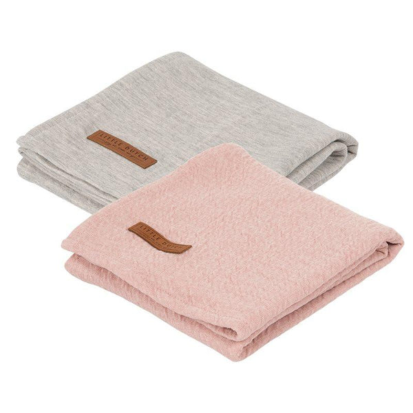 2-pack swaddles grey | pink Little Dutch