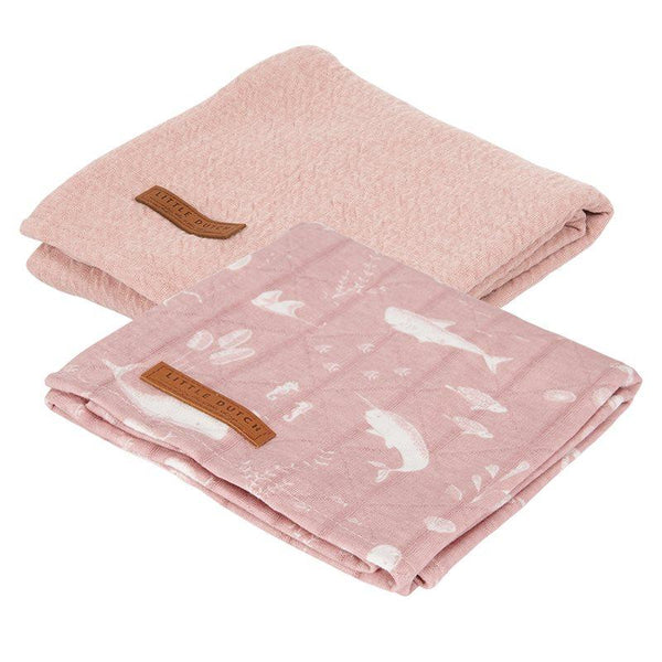 2-pack swaddles pure pink | ocean pink Little Dutch Muslin Little Dutch