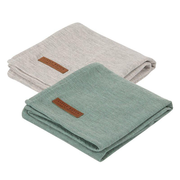 2-pack swaddles grey | mint Little Dutch Muslin Little Dutch