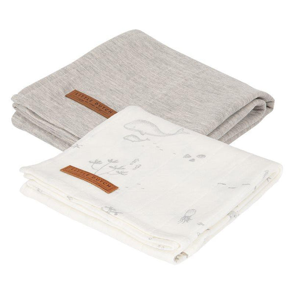 2-pack swaddles pure grey | ocean white Little Dutch