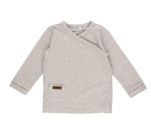 Wrap shirt grey melange Little Dutch Top Little Dutch