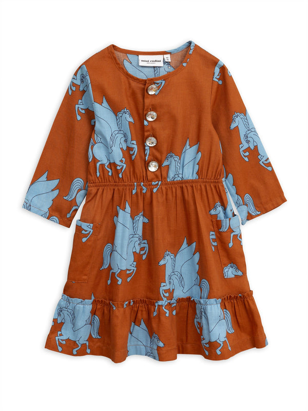 Pegasus flounce dress brown Mini Rodini
