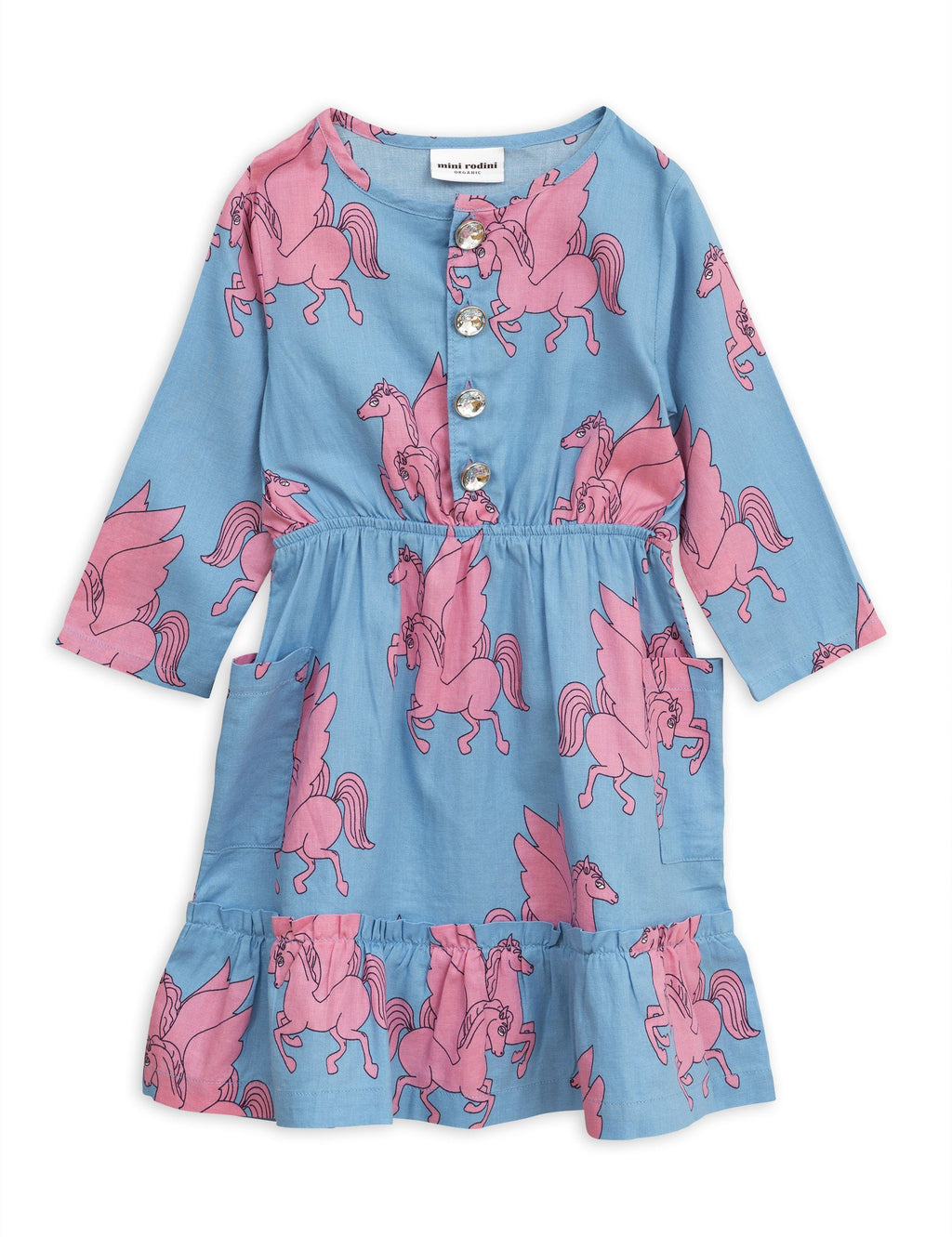 Pegasus flounce dress blue Mini Rodini