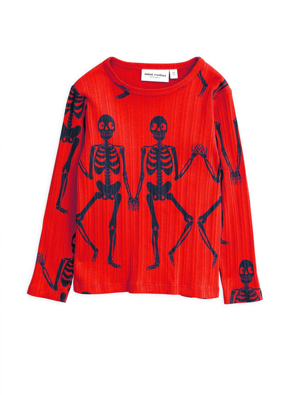 Skeleton LS tee red Mini Rodini Tops Mini Rodini
