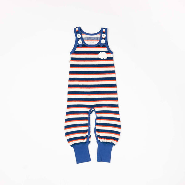 Happy crawlers solidate blue striped AlbaBaby Dungarees Alba of Denmark