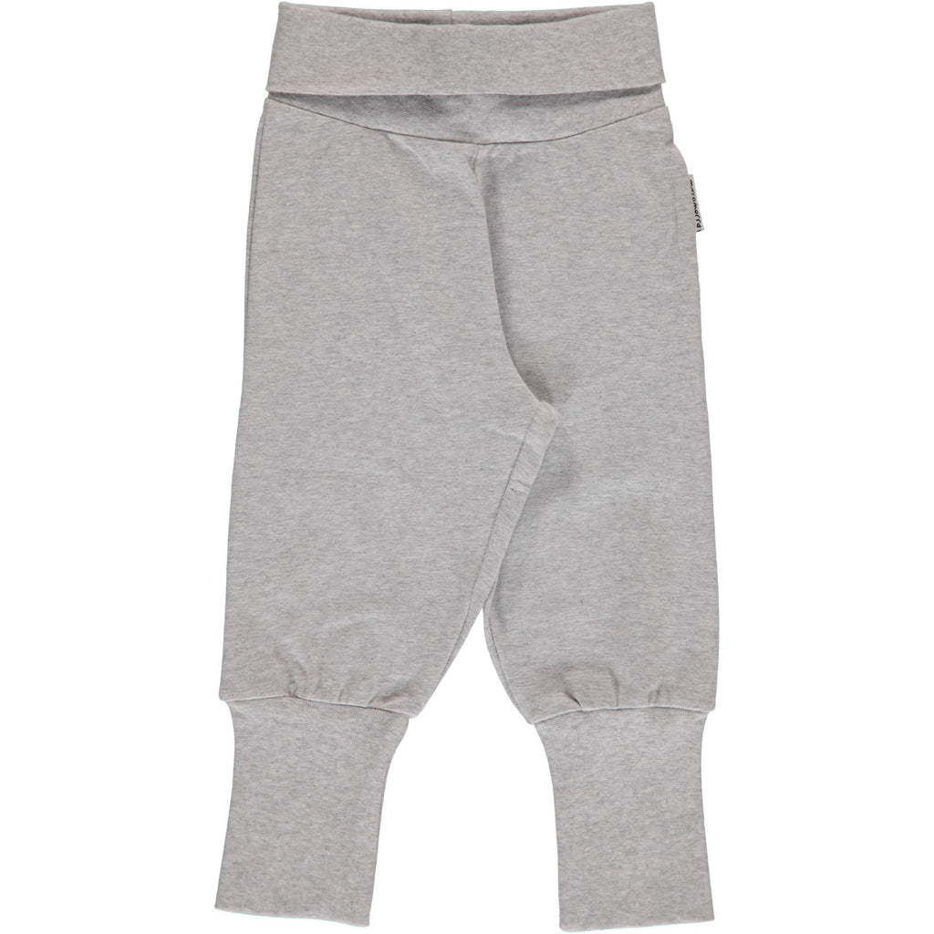Rib pants light grey melange Maxomorra