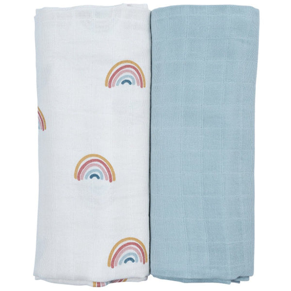 2 Pack - muslin swaddle rainbow Fabelab