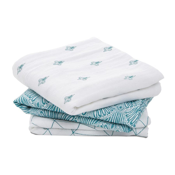 Muslin squares paisley teal 3-pack