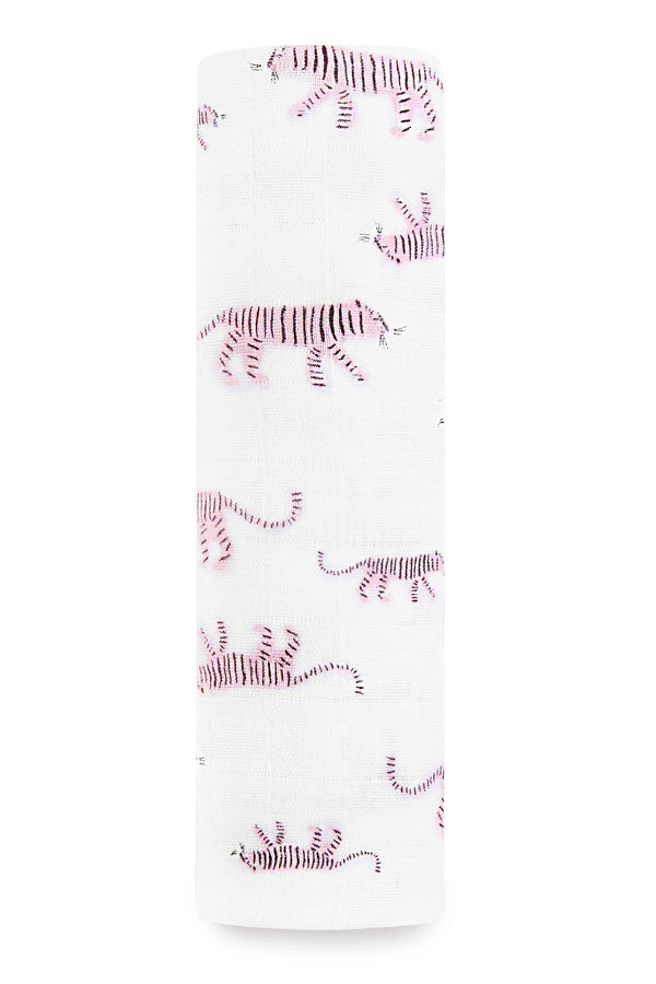 Pink tigers swaddle muslin
