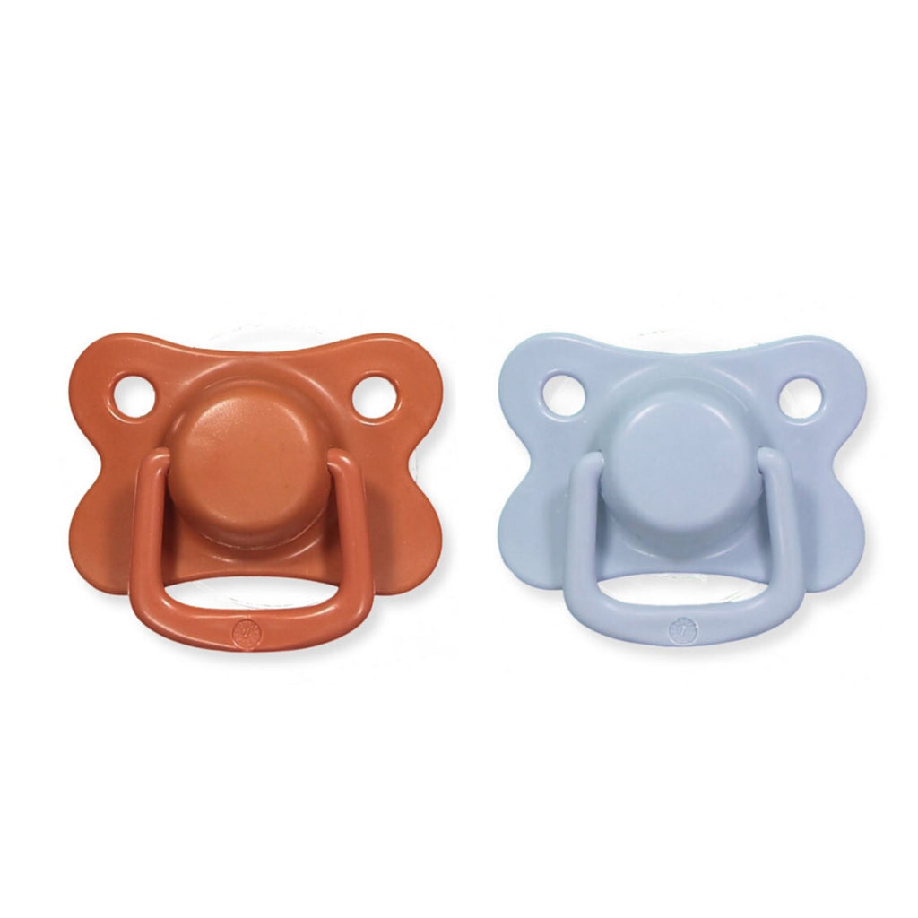 2-pack pacifiers rust + powder blue +6M Filibabba pacifier Filibabba