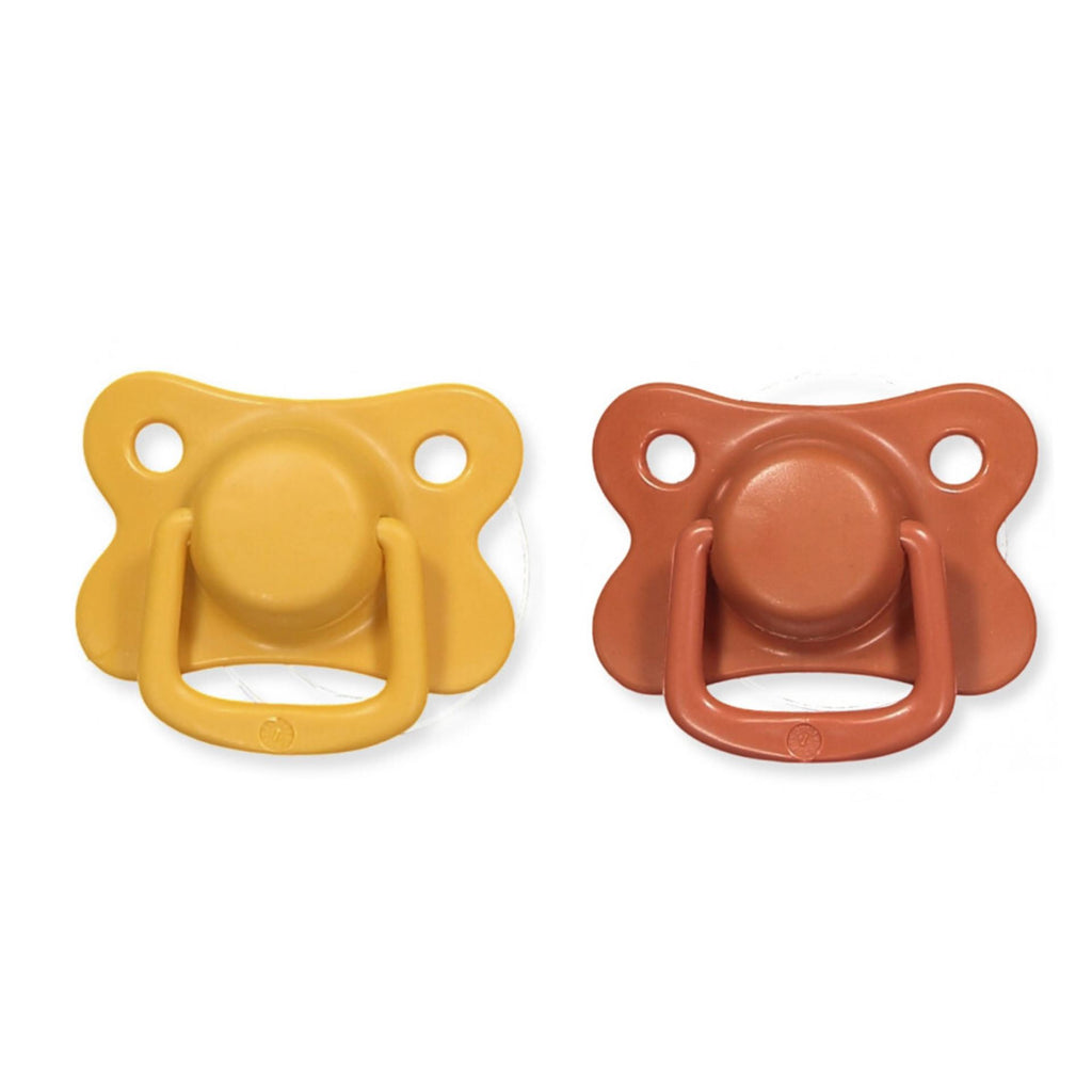 2-pack pacifiers mustard + rust +6M Filibabba pacifier Filibabba