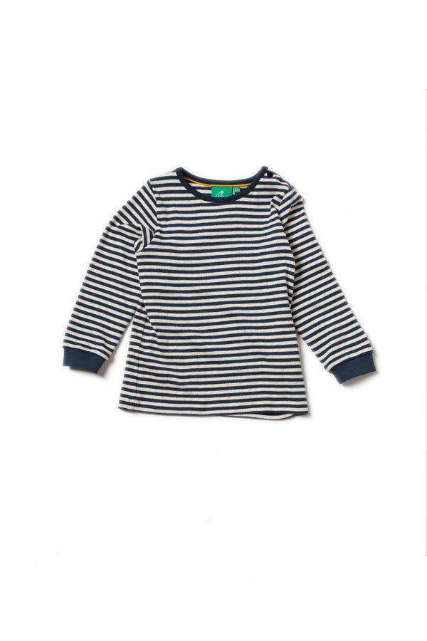 Pointelle navy stripes top Little Green Radicals Tops Little Green Radicals