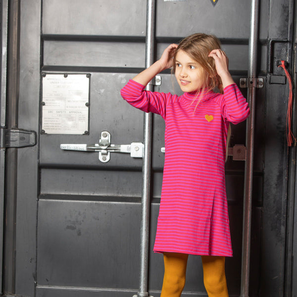 Cosy school dress dahlia magic stripes AlbaBaby Dress Alba of Denmark