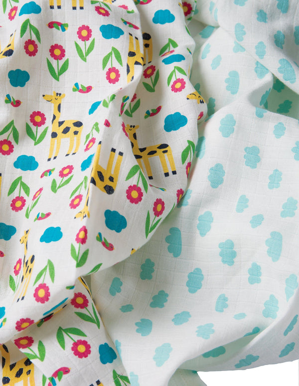 Lovely muslins - giraffe & clouds - 2 pack