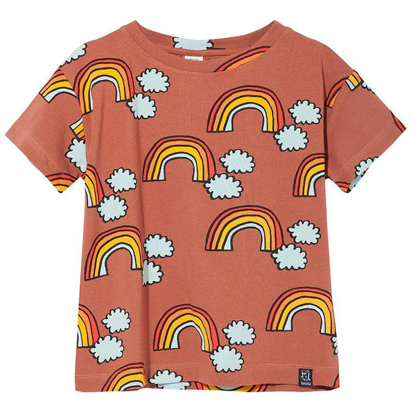 T-shirt brown rainbow Kukukid Tops Kukukid