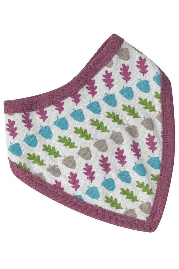 Reversible acorn bib - raspberry