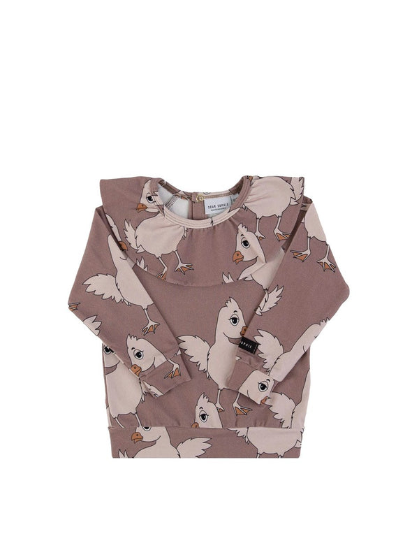 Brown chicken jersey frilled LS Dear Sophie Tops Dear Sophie