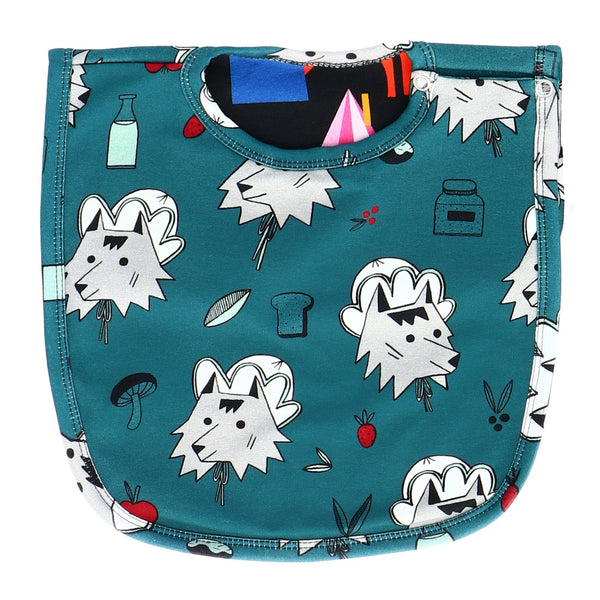 Reversible bib a wolf in disguise Raspberry Republic Bib Raspberry Republic