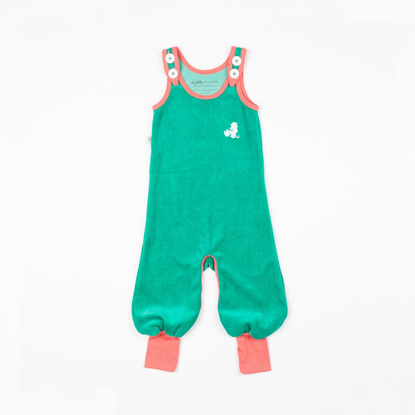 Happy crawlers pepper green AlbaBaby Dungarees Alba of Denmark