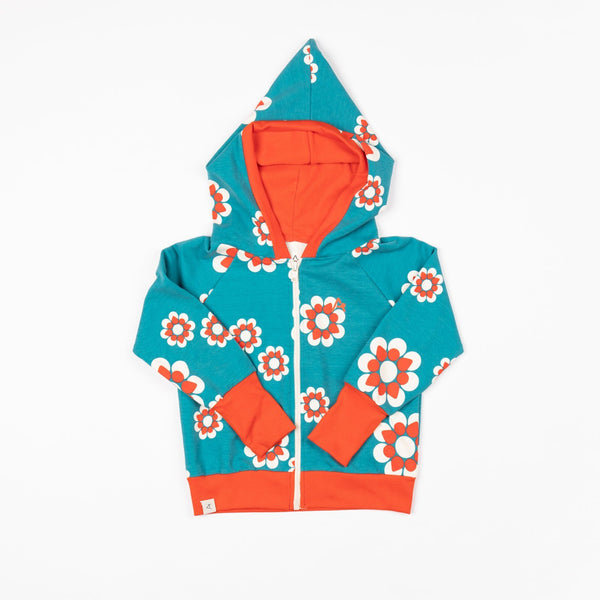 All time zipper hood biscay bay flower heaven AlbaBaby Jackets Alba of Denmark