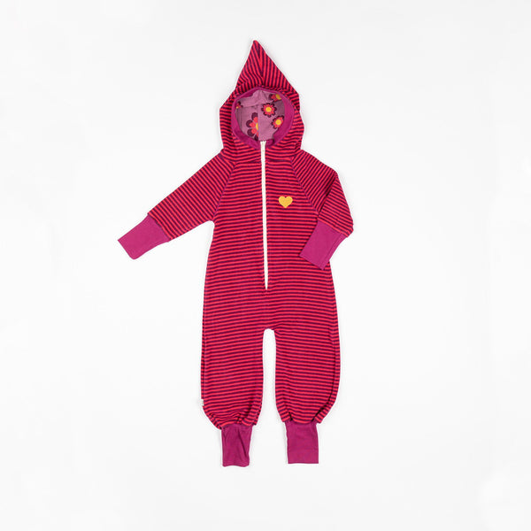 Kim jumpsuit raspberry magic stripes AlbaBaby Playsuit Alba of Denmark