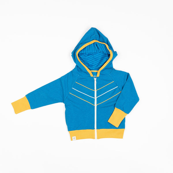 Adam zipper hood Mykonos blue AlbaBaby Jackets Alba of Denmark