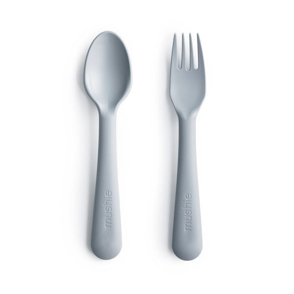 Fork and spoon set cloud mushie clip mushie