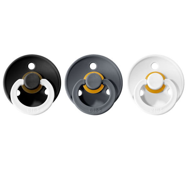 Bibs pacifier 0-6 M 3-pack black night + iron + white Pacifier Bibs