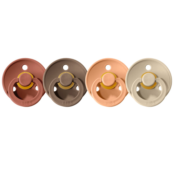 Bibs pacifier 0-6 M 4-pack woodchuck + dark oak + peach + sand Pacifier Bibs