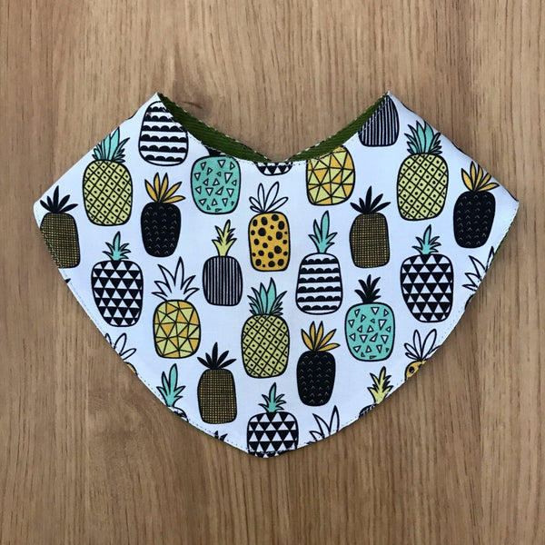 Pineapple reversible bandana bib