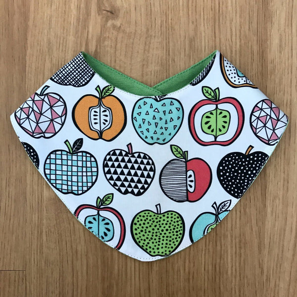 Apples reversible bandana bib