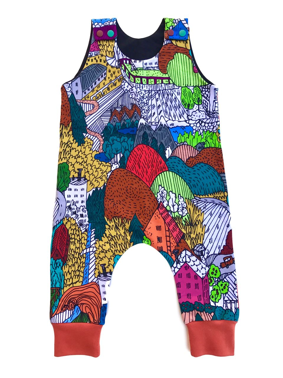 Dungarees landscape Dungarees Melancia handmade
