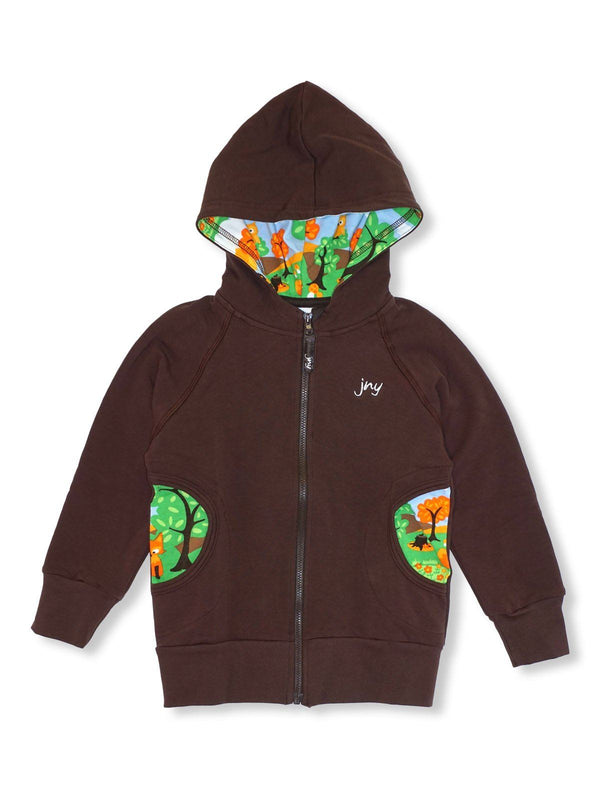 Hoodie with zip little wood JNY