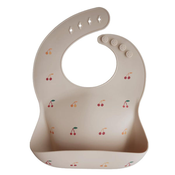 Silicone baby bib cherries mushie