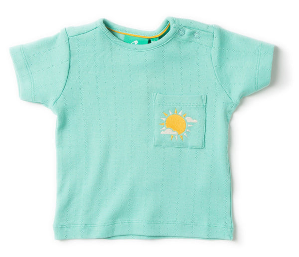 Pointelle pale turquoise tee Tops Little Green Radicals