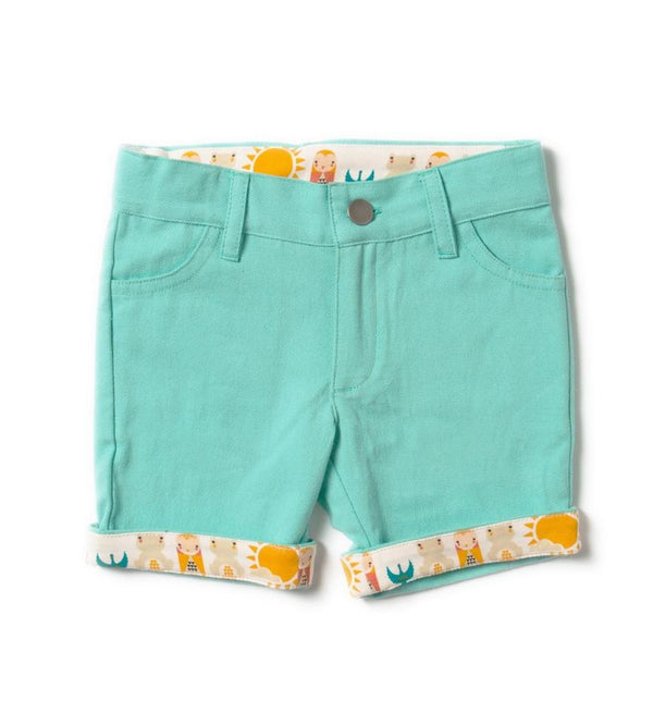 Pale turquoise sunshine shorts Bottoms Little Green Radicals
