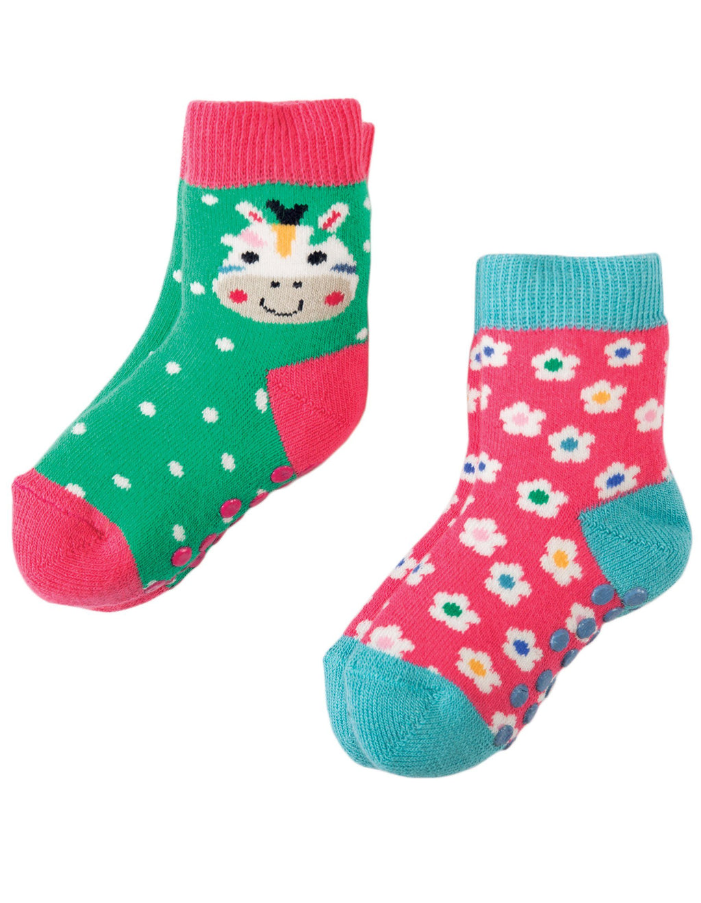 Grippy socks - 2 pack - zebra & flower