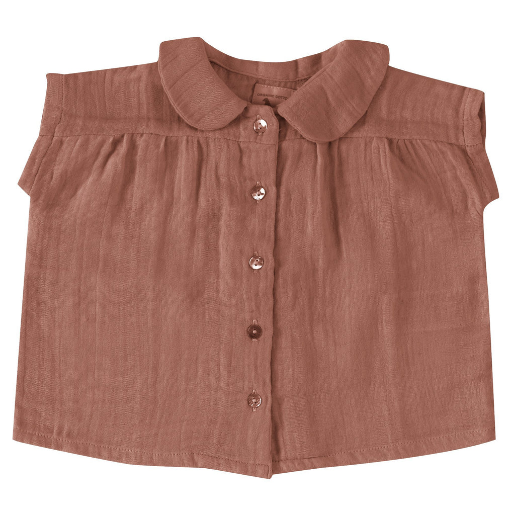 Blouse with Peter Pan collar (muslin) walnut Pigeon