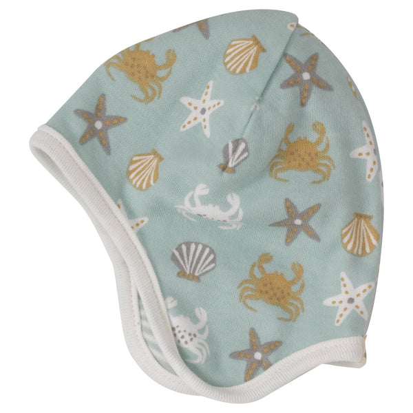 Reversible seaside bonnet - crab Hat Pigeon Organics