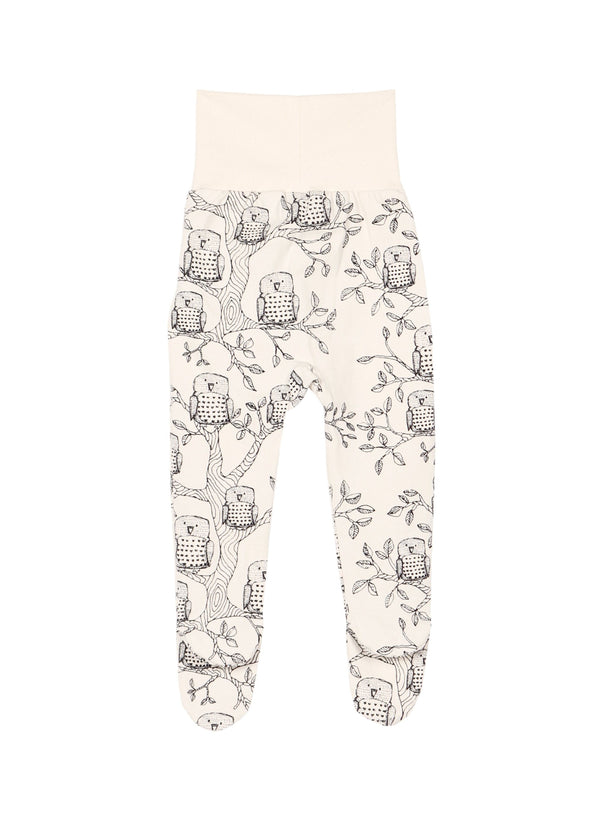 Baby pants with feet owls Aarrekid