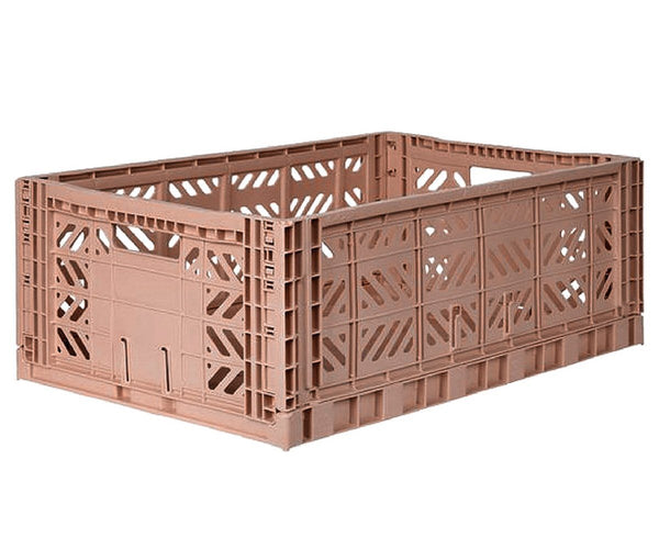 Maxi warm taupe folding crate Aykasa
