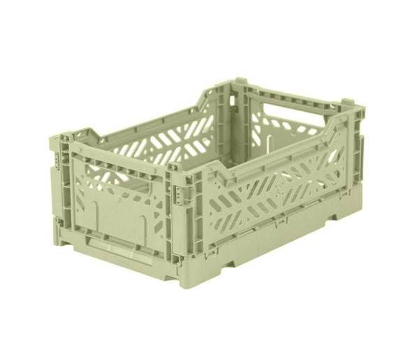 Mini lime cream folding crate Aykasa