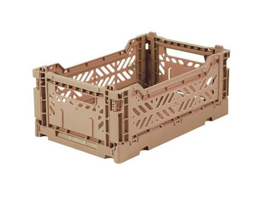 Mini warm taupe folding crate Aykasa